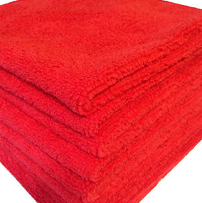 12 RED MICROFIBER TOWELS NEW CLEANING CLOTHS BULK 16X16 MANUFACTURERS SALE