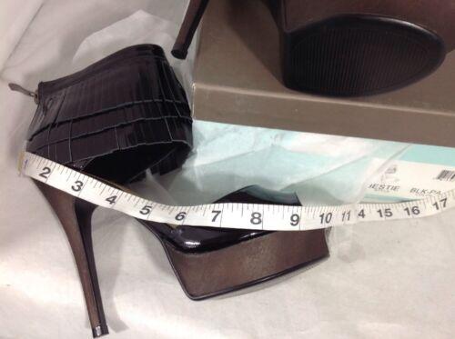 NEW NY LA High Heels Size 7 Shiny Black Leather Fringe Ankle Zip Platform Shoes