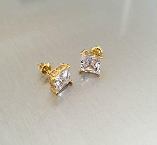 14K Gold Finish 2.25 ct Lab Diamond Mens /& Ladies Screw Back Stud Earring 8mm
