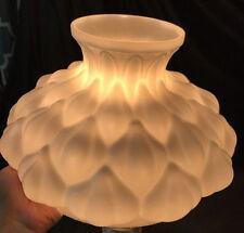 Vtg Lamp Shade White Milk Glass Quilted Parlor Oil Hurricane Desk Boudoir Petals