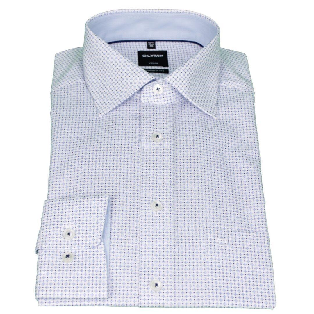 Olymp Men's Luxor Modern Fit Shirt bluee Minimal Pattern 1214 34 11