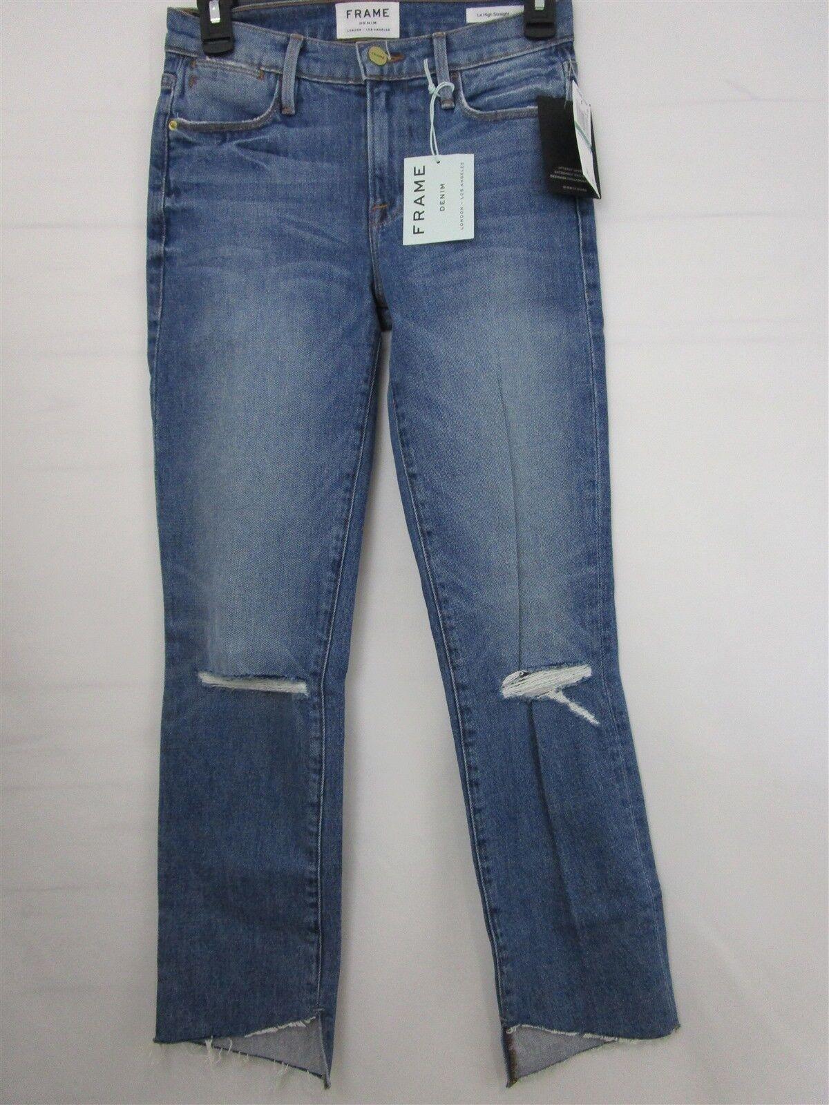 Frame Denim Femme Le High Straight Raw Edge Jeans Taille 24 0299 Neuf