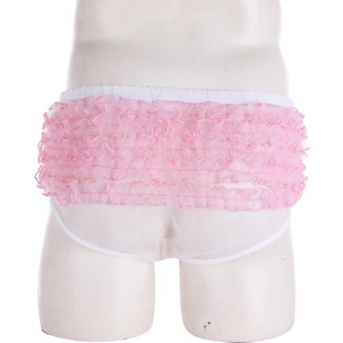 Men Sissy Frilly Lace See Through Underwear Thong Bikini Brief G-String Knicker