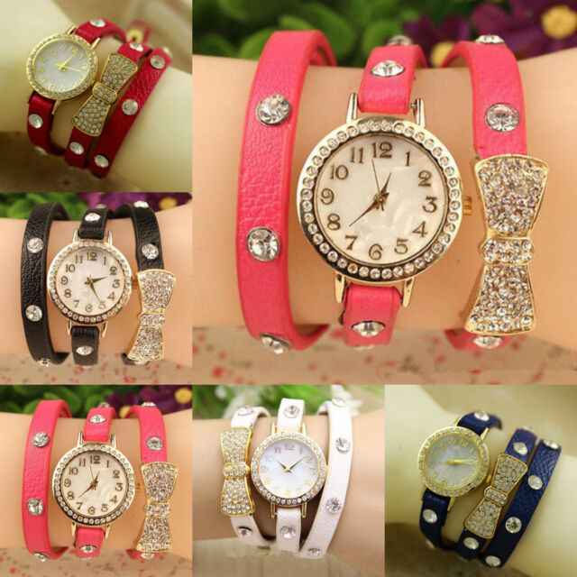 Hot Fashion Women Bowknot Crystal Quartz Bracelet Faux Leather Analog Wristwatch