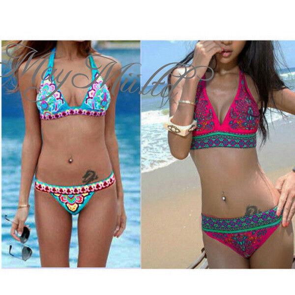 Sexy Women Floral Bikini Set Push Up Padded Bra Swimsuit Bathing Suit Swimwear H