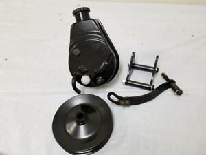 Saginaw Power Steering Pump >> Details About Chevy Gm Black Saginaw Power Steering Pump Mounting Bracket Double Groove Pulley