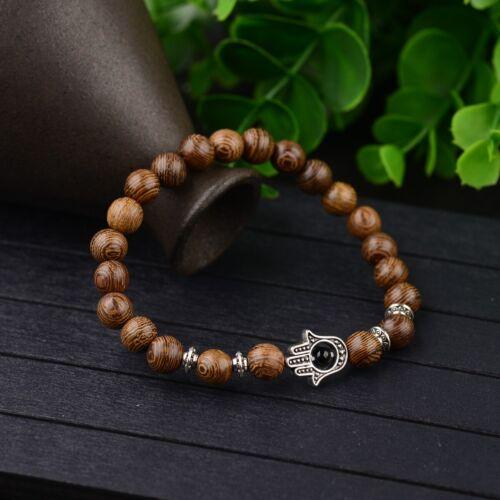 Fashion Men/'s Woman 8 mm naturel en bois perles stretch bracelet couples Bracelets