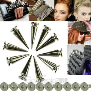 10pc 26mm Silver Spots Cone Screw Metal Studs Leather Craft Rivet Bullet Spikes