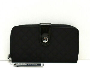 994a09e8970b Details about Nautica Be Shore Tab Zip Around Clutch Wallet Black RFID  Protection New! NWT