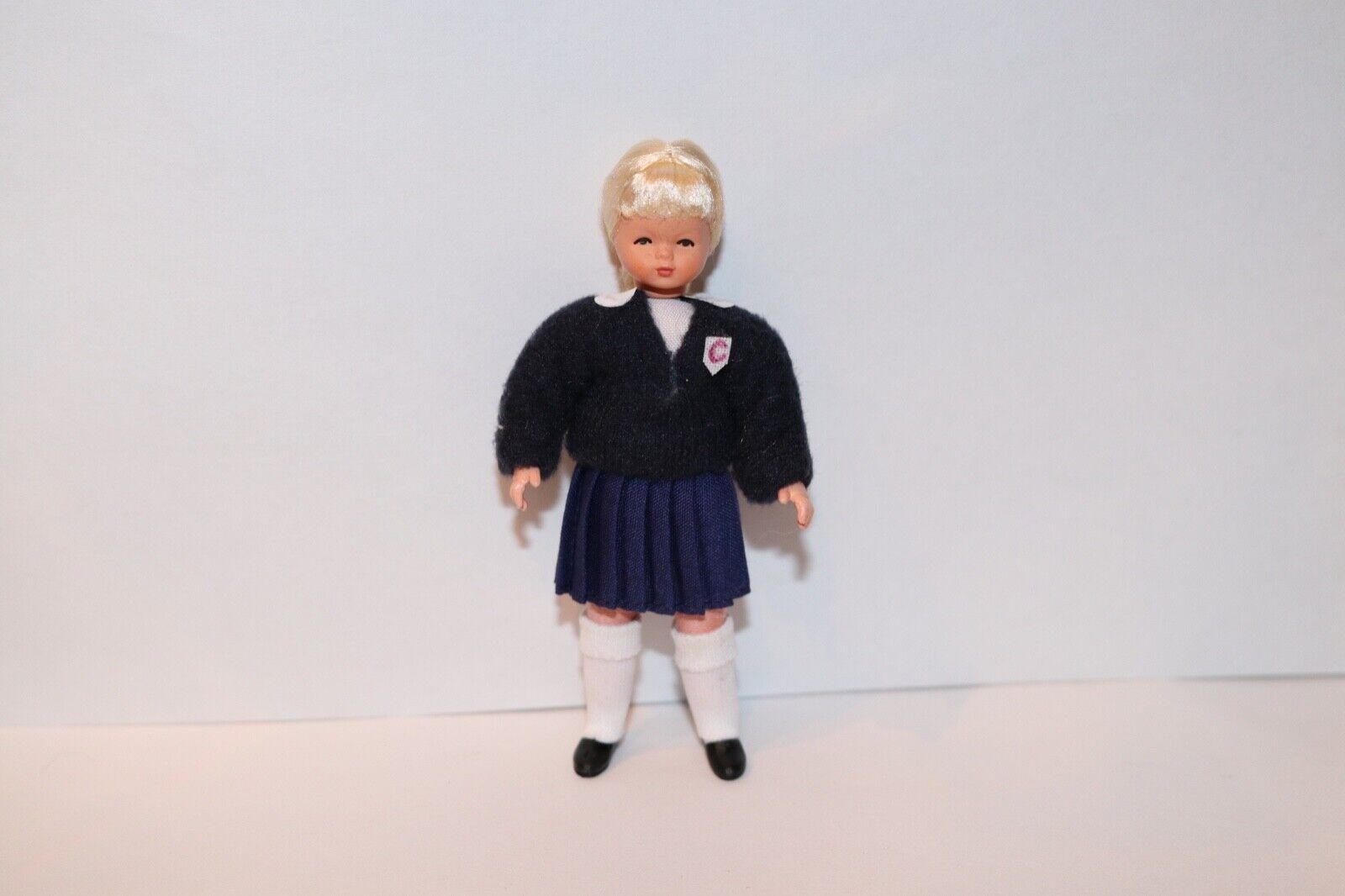 Caco Girl Doll Germany Modern Dollhouse Miniature German NIB Retirot School Girl