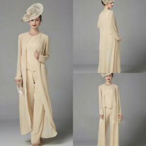 3PCS-Mother-Of-The-Bride-Pants-Suits-Outfits-Jackets-Groom-Guest-Gowns-Sequined