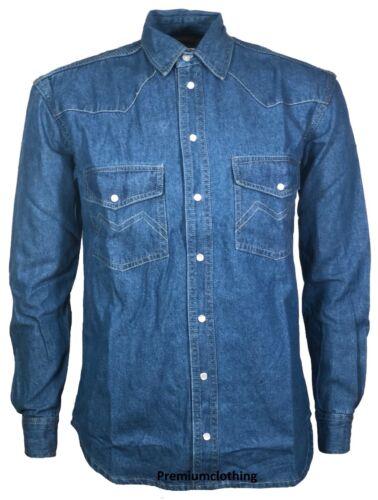 NUOVA Maglia in Denim da Uomo Maniche Lunghe Colletto Cotone Casual Top Jeans T Shirt S-2XL