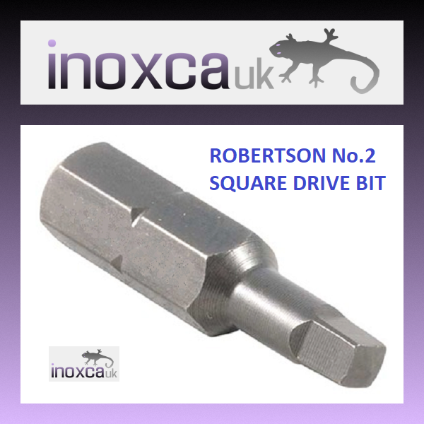 100 ROBERTSON SQUARE DRIVE BIT 25mm NUMBER 2 SQ DRIVE HEAD 1 4  HEX R2 No.2