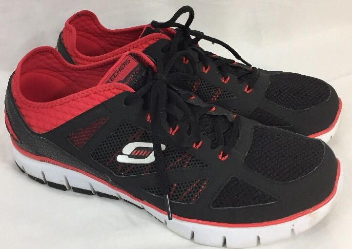 Skechers Relaxed Fit Men's Life Force Black/Red Athletic Shoe Sz 14