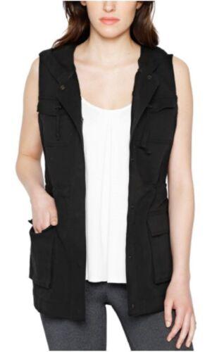 Brand New Women/'s Matty M Cargo Black Vest with Hood Anorak Utility NWT
