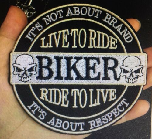 Biker Patch Aufnäher Live to Ride-Ride to Live Skull Ø 10cm Kutte MC Rocker