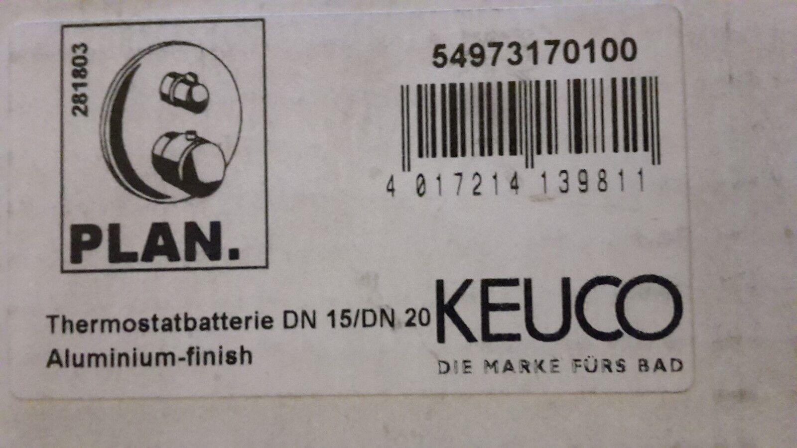 KEUCO Thermostatbatterie Plan DN15/DN20,m. Absperrventil, alu.finish 54973170100