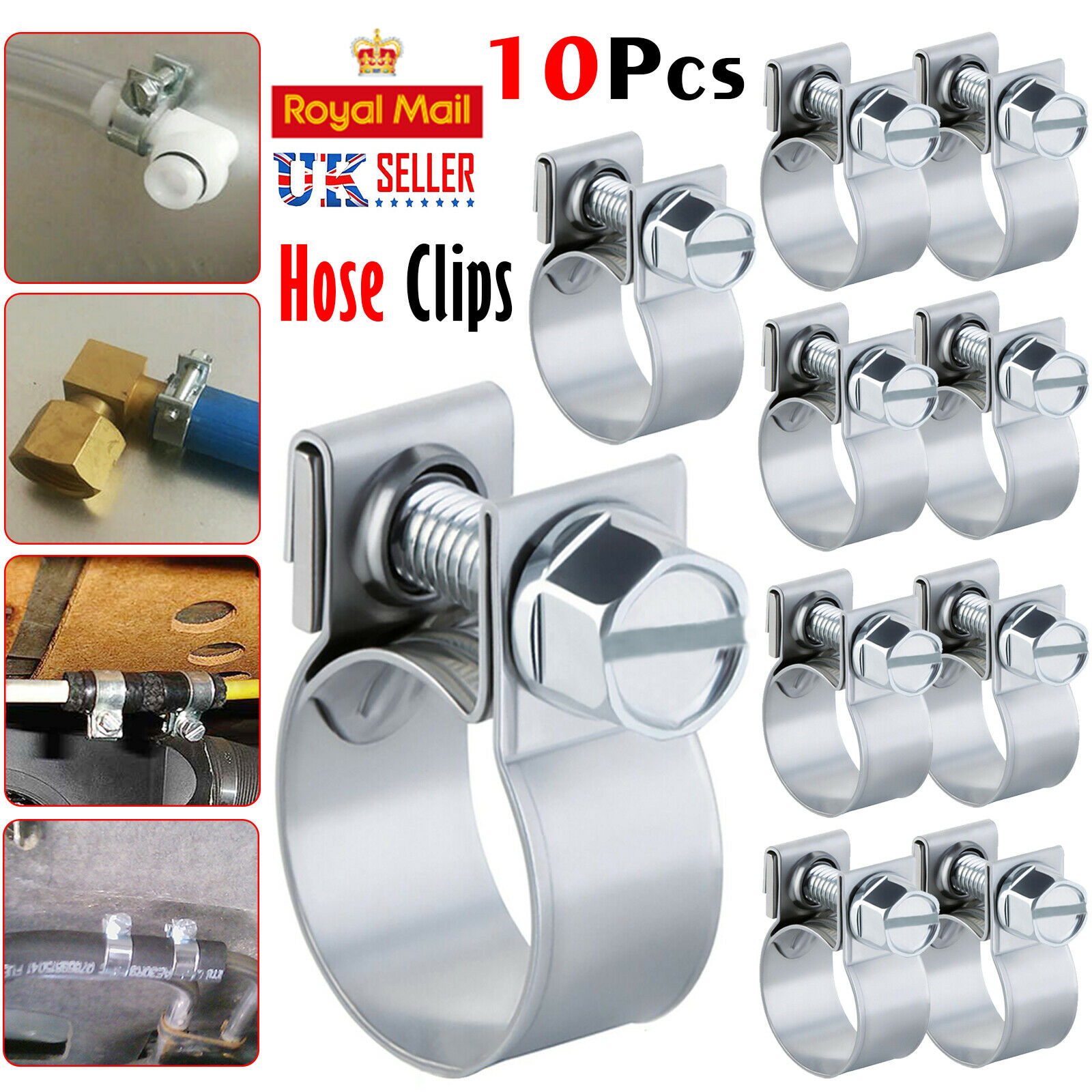 13mm Mini Fuel Line Jubilee Zinc Hose Clip Clamp Diesel Petrol pipe Sizes 11mm