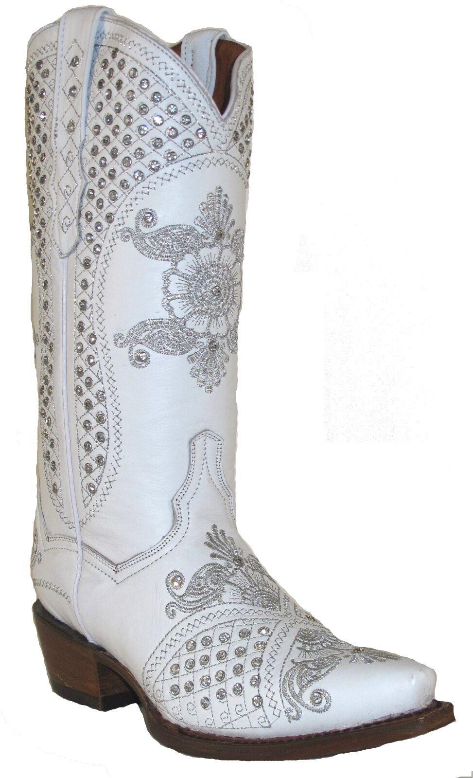 Women's  Distressed Distressed Distressed Leather Full Rhinestone Cowgirl Western Boots Snip White dc5843
