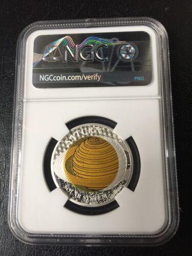 NGC PF70 2017 SATURN Niobium Solar System Silver Coin Palau First Release