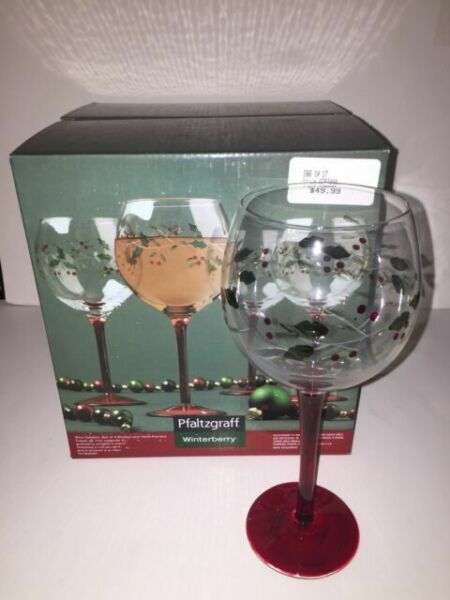Pfaltzgraff Winterberry Red Stem Balloon Wine Goblet Glass Etched Hand Painted