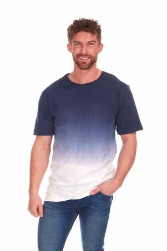 Mens Dip Dyed Indigo T-Shirt Adults Gradient Summer Short Sleeved Shirt