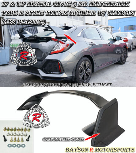 w// Carbon Fit 17-18 Civic 5dr Hatchback ABS Type-R Style Trunk Spoiler Wing