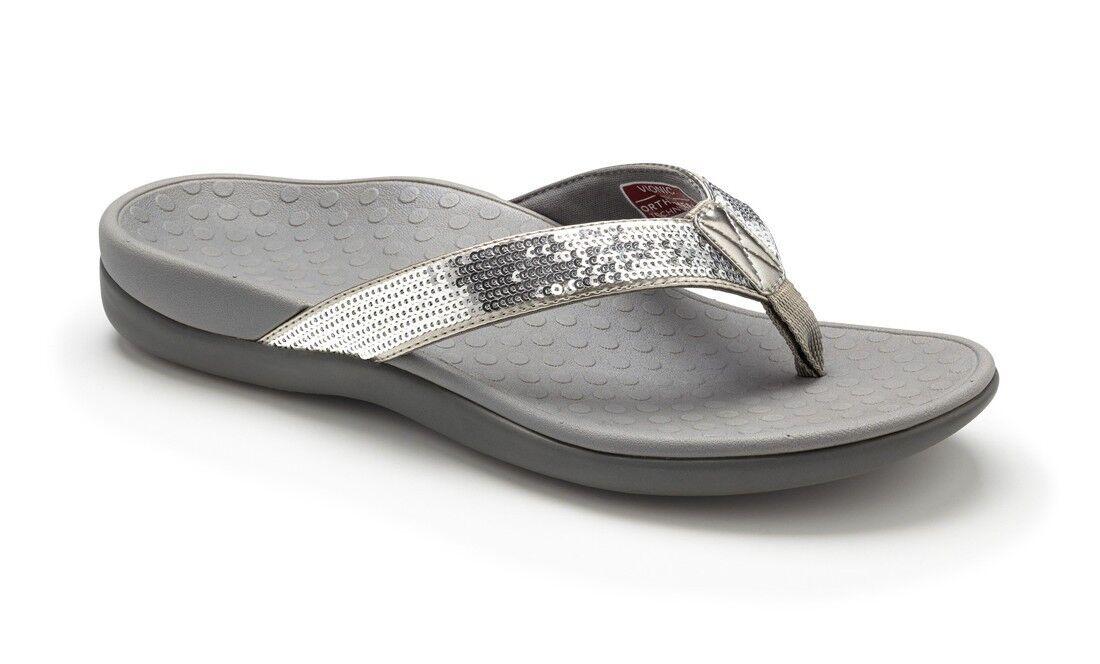 Vionic Orthaheel Tide Sequins Silver 5-12 Flip Flop Damenschuhe Größes 5-12 Silver NEW 595025