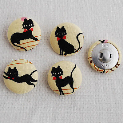4 Kawaii Handmade Fabric Covered Buttons - Sewing - Black Cat - 25mm