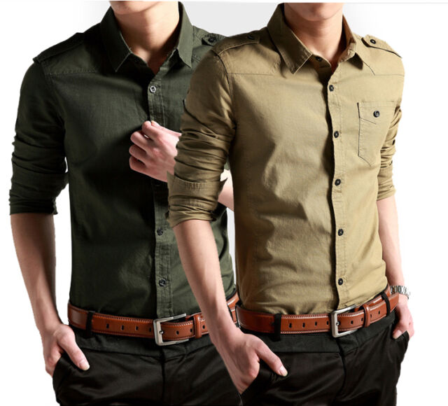 A6144 Mens Cotton Luxury Casual Slim Fit Stylish Long sleeve Dress Jeans Shirts