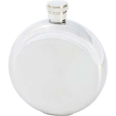 New 5 oz FLASK Round METALLIC SILVER Stainless Steel Hip Pocket Screw Cap Liquor