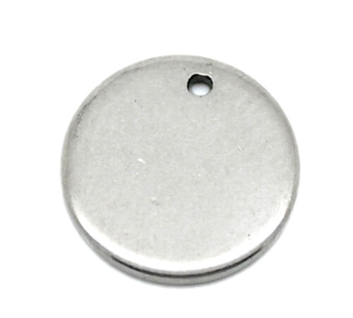 250 pendentifs rond en Acier Inoxydable 10mm dia.