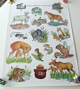 """Vintage SMOKEY BEAR ANIMALS POSTER - """"Please Be Careful With The Future."""""""