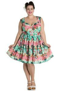 Plus-Size-Peacock-Dress-Cotton-Blue-Pink-Tea-1950-039-s-18-20-22
