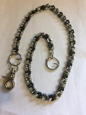 Hex Nut Stainless Steel Wallet Chain, Black & Silver, Rockabilly Biker SteamPunk