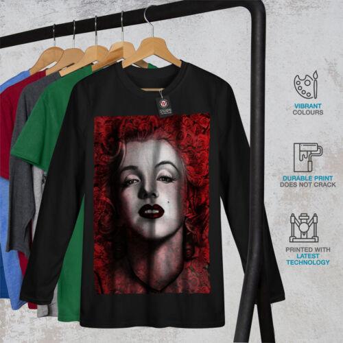 femme de design graphique Wellcoda Marilyn Deep Red Lips Homme T-shirt à manches longues