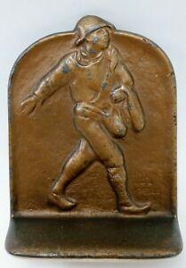 Antique Semeur Serre-livres métal Johnnie Appleseed figurées bronze Snead & Co.1925 Dal