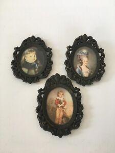 Vintage-Art-framed-Italian-ornate-oval-metal-frame-Victorian-wall-decor
