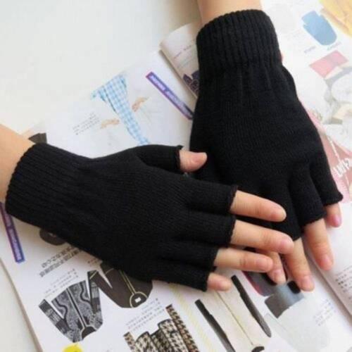Winter Outdoor Knitted Gloves Men Stretch Warm Half Finger Fingerless Gloves
