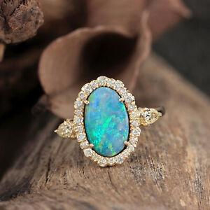 New-Solid-14k-Yellow-Gold-Genuine-1-17-Ct-Opal-Gemstone-Diamond-Ring-Jewelry
