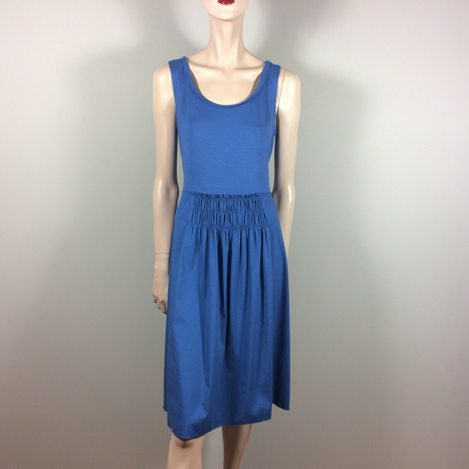 TAHARI Damen Kleid L XL 40 42 Blau Jersey Baumwolle Casual Resort Summer Dress