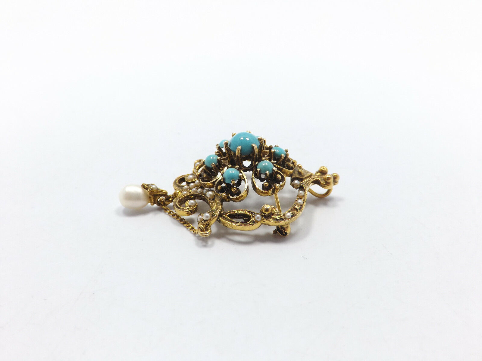 Vintage 14k Gold Persian Turquoise Seed Pearl Orn… - image 4