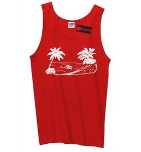 f677b4d90e49a Beach Scene Graphic Mens Tank Top Vacation Cruise Island Summer ...