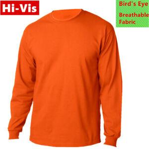 Hi-Vis-T-Shirts-High-Visibility-Safety-Work-Neon-Orange-Sports-Wear-Long-Sleeve