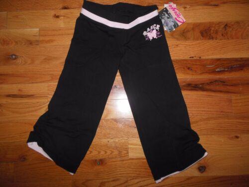 CAPEZIO BLACK PINK COTTON LYCRA DANCE Cinched CAPRI PANTS Girls sizes coverup