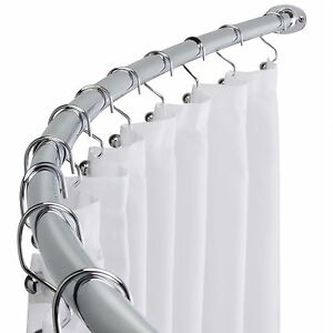 Polished Chrome Adjustable Bathroom Curved Shower Curtain Rod 60