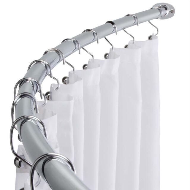 Polished Chrome Adjule Bathroom Curved Shower Curtain Rod 60 To 72