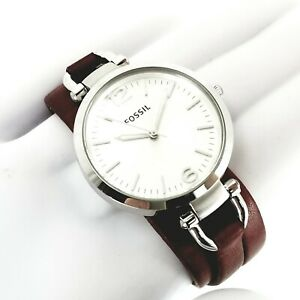 FOSSIL-Georgia-Silver-Dial-Brick-Red-Leather-Ladies-Analog-Quartz-Watch-ES3157