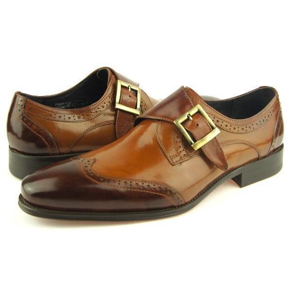 Carrucci Wingtip Monk Strap, Men's Dress Leather shoes, Cognac 8-15US