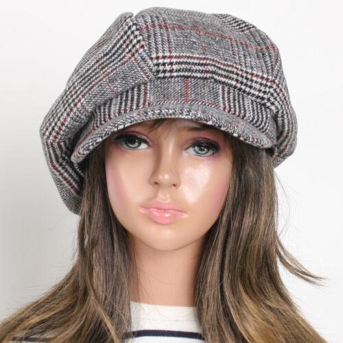 NEW Check Women Fashion Wool 6 Panel Applejack Cap AMJ Unisex Gatsby Newsboy Hat